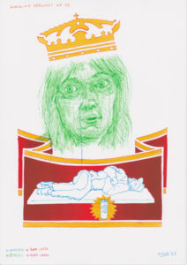 Drawing of a green girl face, a crown and a homeless man.