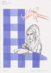 Drawing of a girl with an octopussy and a blue and white tablecloth.