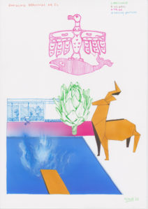 Drawing artichoke, deer, splash Hockney, bird and whale.