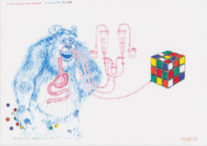 Drawing with bleu gorilla, medicin and rubik's cube.