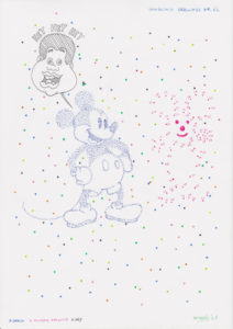 Drawing with Mickey Mouse and dots.