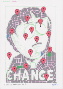 Drawing combination with southpark, google maps and the word change.