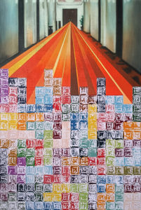 Painting with a combination of Stanley Kubrick hallway and the game Tetris.