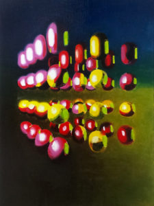 Oil painting in color with balls that form a floating cube.