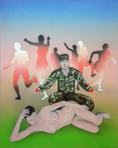 Figurative painting with gradients about the incompetence of chasing woman.