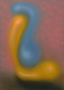 Abstract oil aribrush in yellow blue and pink of the number 51.
