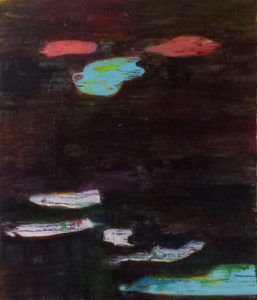 Dark brown layered and abstract painting with spot that represent clouds and a river.