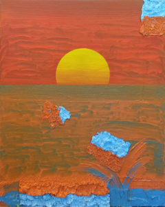 Playfull painting of a sunset in witch paint is playing in the ocean.