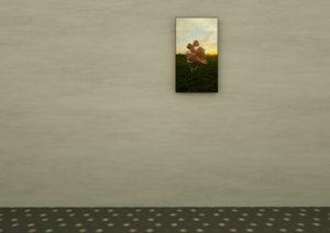 Small flatscreen on a wall in an exhibition of TSNH.