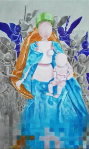 Jean Fouquet's painting Madonna Surrounded by Seraphs and Cherubs converted into 3D and painted.
