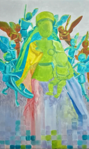 Painting of a madonna surrounded by angels linked to Jean Fouquet's painting Madonna Surrounded by Seraphs and Cherubs.