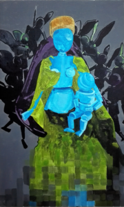 Black angels and blue madonna inspired by Jean Fouquet.