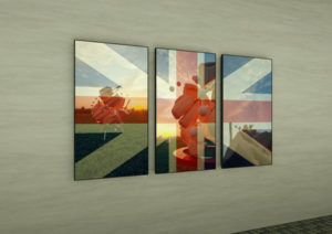 Exhibition view of English flag combined with the animation of male body playing with baseballs.