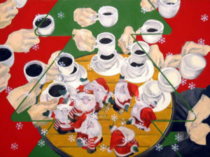 Painting of Christmas doll, coffee and snow.