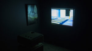 Exhibition view projection and painting by Niko Hendrickx.