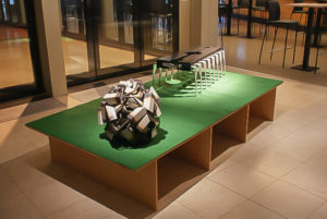 Exhibition vieuw Dommelhof Neerpelt, ball with camera's and a pillory chip by Niko Hendrickx.