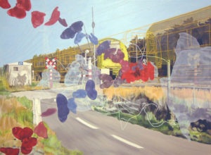 Painting wiith butterflies, a ghost and a train.
