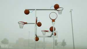 3D visualization of a sculpture with basketballs and basketball rings.