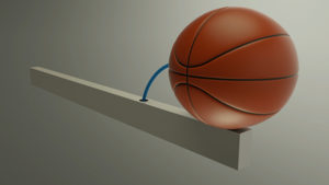 A basketball ball with a blue air pressure tube on top of an aluminum beam.
