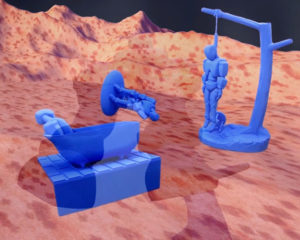 Robot sculptures that commit suicide in a fleshy landscape.