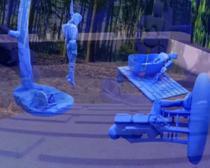 Three robot sculptures that commit suicide in a digital landscape.