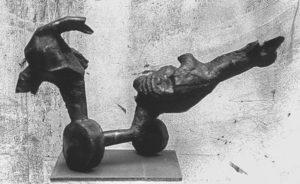 Metal Francis Bacon like sculpture.