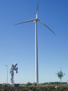 Sculpture Saturn under a windmill in Lommel Belgium.