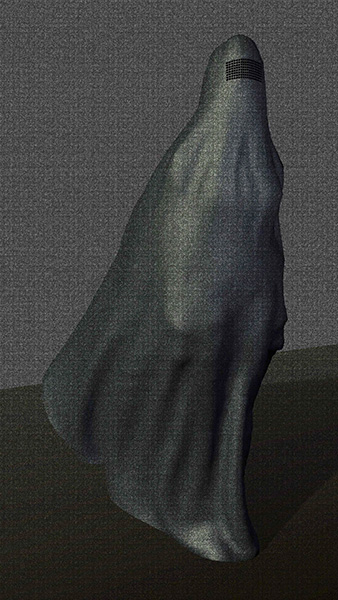 A woman in a burqa is standing in the wind.