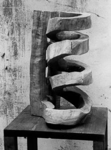 Wooden spiral with a stair.