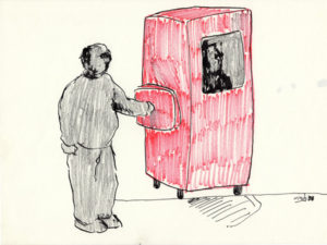 Drawing of a man putting his hand in a red box with a man in it.