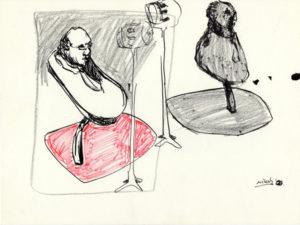 Drawing of bizarre scene of half man in the spotlights.