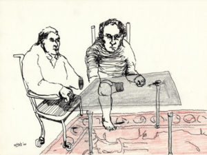 Drawing of two man on a table and a carpet.