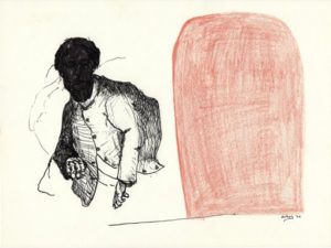 Drawing of a black man coming out a brown door.