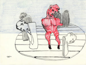 Drawing of the devil in hell.