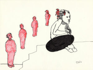 Drawing of a boy sitting and somebody else tries to get in his mind.