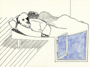 Drawing of a couple sleeping with an open window.