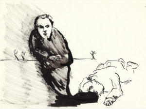 Black and white drawing of a death man and his ghost.