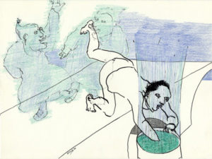 Drawing blue and green, two women dancing and one man looking in a barrel.