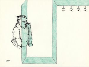Drawing of a floating man through a corridor.
