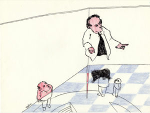 Drawing of a teacher in a classroom with bleu and white tiles.