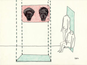 Drawing of two heads and two bodies in a waiting room.