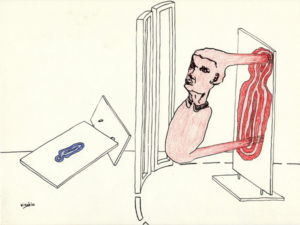 Drawing of a man pulled in or out a red strange area.