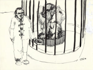 Black and white drawing of a man by a cage with something in it.