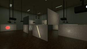 Walls with projection of fictional datavisualisation for an art exhibition.