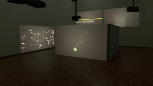Walls with videoprojection for an art project about datavisualisations.