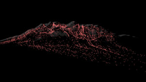 Data stream of persons comming down a mountain in pink color.