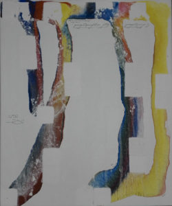 Abstract painting vertical lines yellow blue and red.