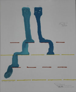 Two abstract figures sitting in bleu on red and yellow lines.