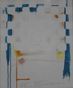 Abstract painting blocks and liquid blue orange pink.