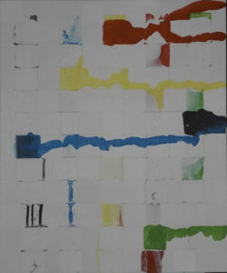 Painting abstract with white red green and bleu squares.